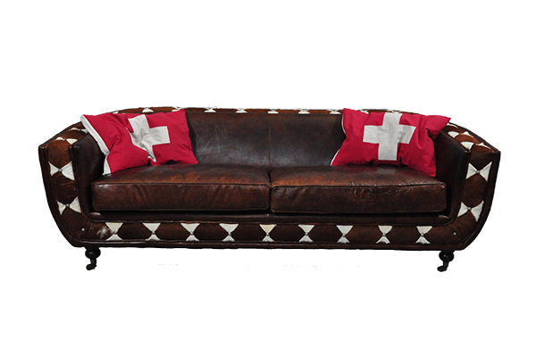 echtleder kuhfell banbury sofa 2er leder braun ledersofa ebay. Black Bedroom Furniture Sets. Home Design Ideas