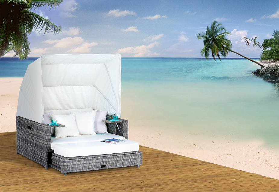 beach lounge garten polyrattan liege sonneninsel liegeinsel domus ventures asche ebay. Black Bedroom Furniture Sets. Home Design Ideas