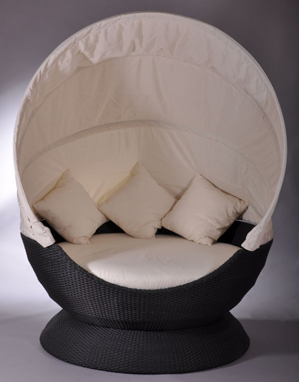 nest lounge liegeinsel liege sonneninsel domus ventures garten rattan schwarz ebay. Black Bedroom Furniture Sets. Home Design Ideas