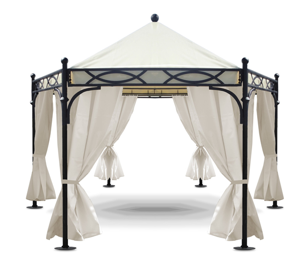 pavillon rodhos pavillion garten eisen feuerverzinkt segeltuch durchmesser 3m ebay. Black Bedroom Furniture Sets. Home Design Ideas