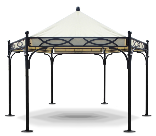 pavillon rodhos pavillion garten eisen feuerverzinkt segeltuch durchmesser 4 5m ebay. Black Bedroom Furniture Sets. Home Design Ideas